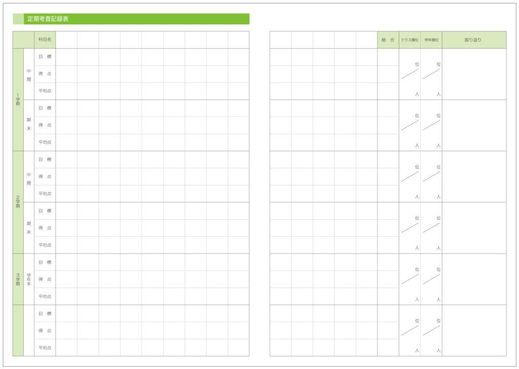 定期考査記録表